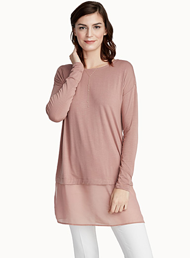 Voile trim jersey tunic