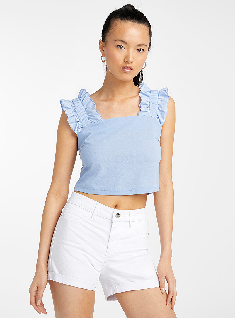Icône Slate Blue Gathered-strap cropped blouse for women