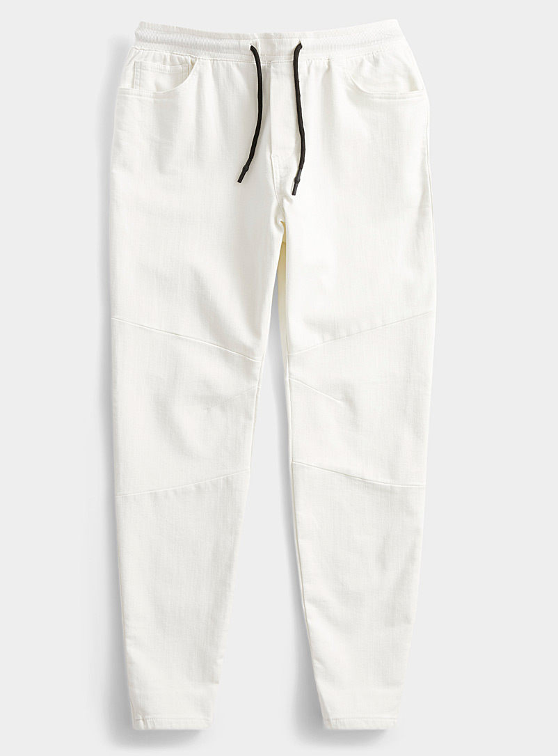 Le 31 Ivory White Eco-friendly ergonomic joggers for men