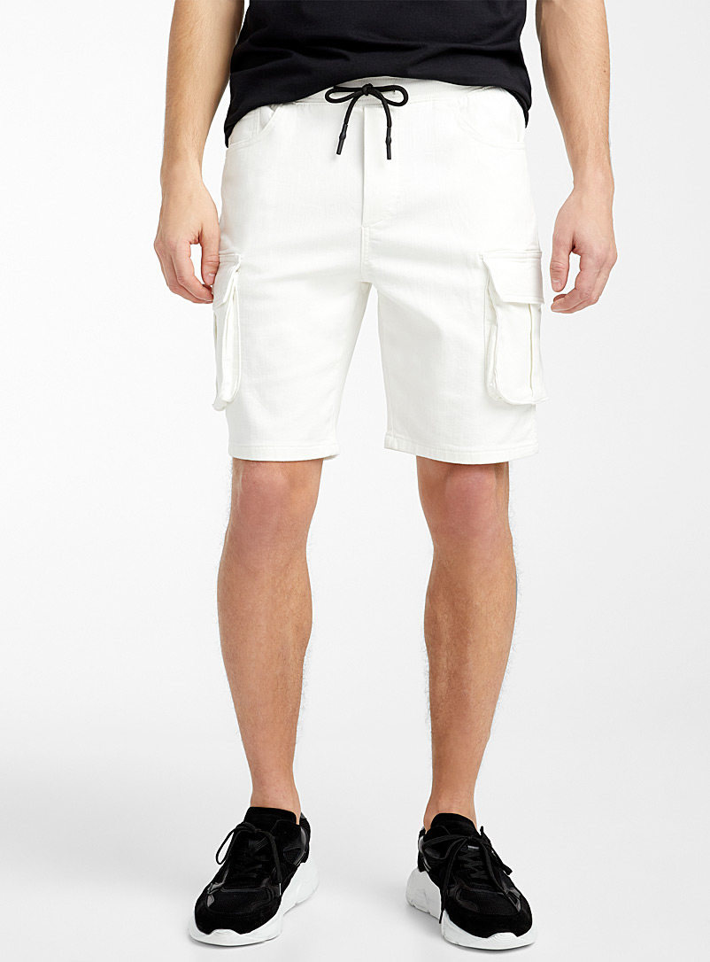 Le 31 Ivory White Eco-friendly cargo Bermudas for men