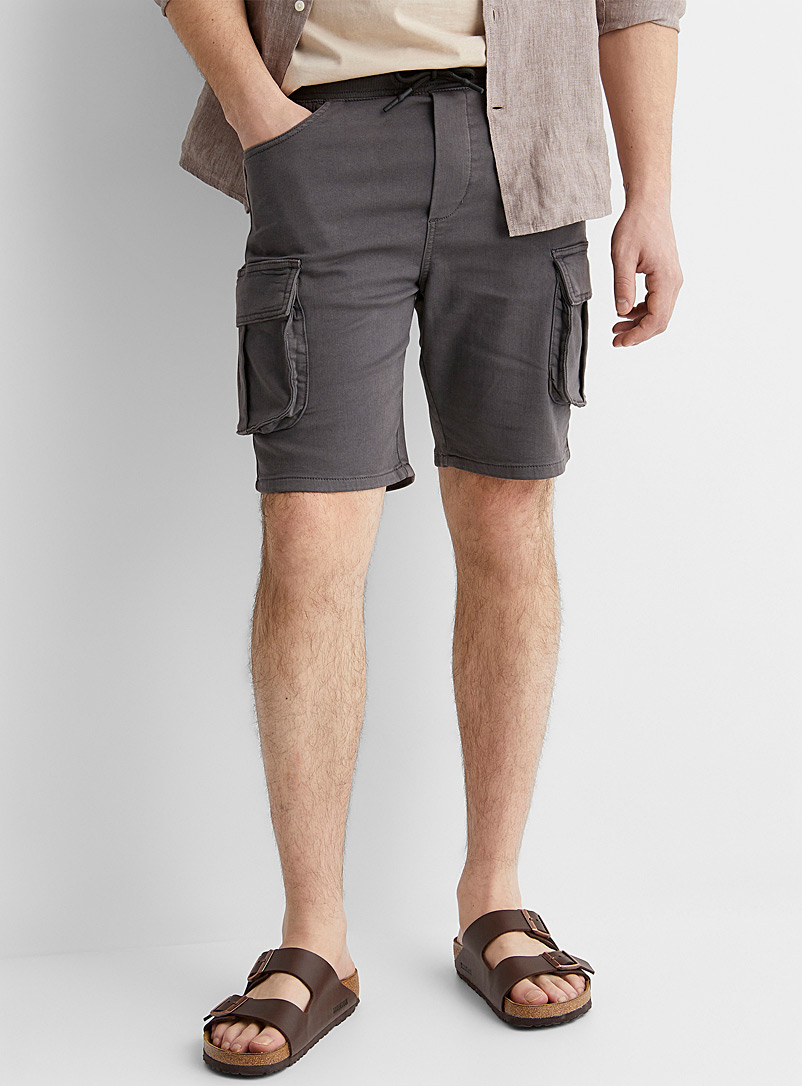 Le 31 Grey Eco-friendly cargo Bermudas for men