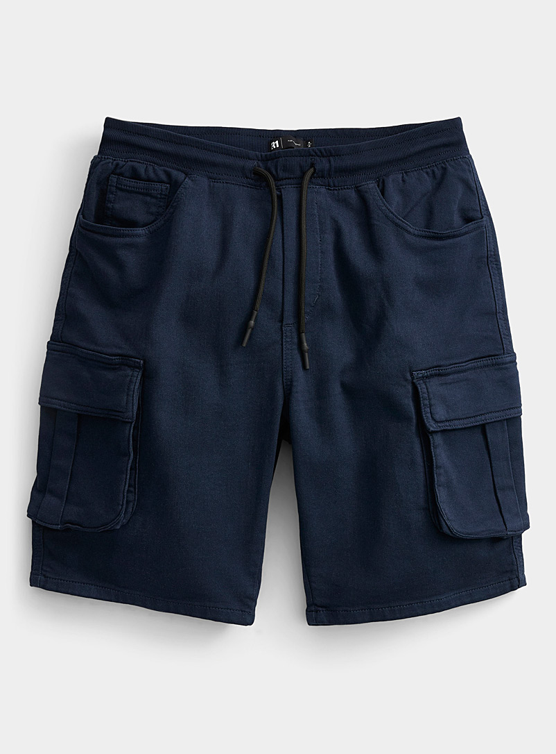 Le 31 Marine Blue Eco-friendly cargo Bermudas for men