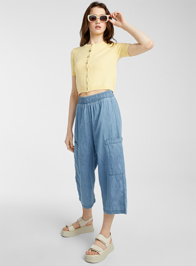 Eco-friendly denim utility gaucho pant