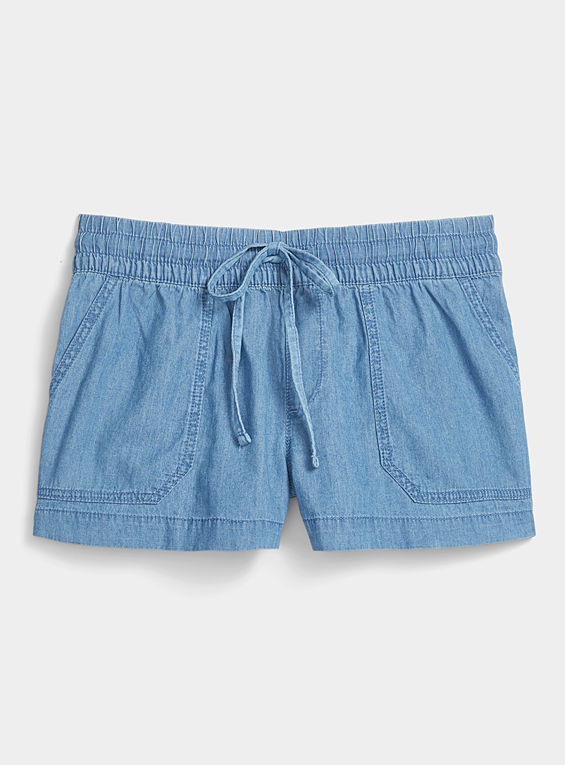 Twik Sapphire Blue Organic cotton denim utility short for women