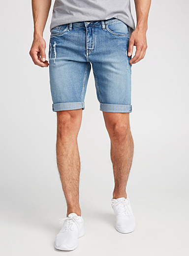 Ripped denim Bermudas