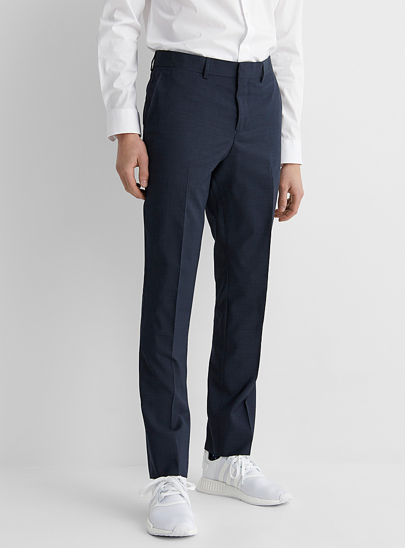 Le 31 Marine Blue Marzotto end-on-end pant  Stockholm fit-Slim for men