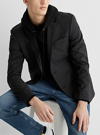 Le 31 Charcoal Marzotto end-on-end jacket  Stockholm fit - Slim for men