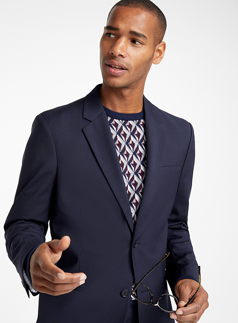 Tone-on-tone check jacket  London fit-Semi-slim - Suit Separates - Dark Blue