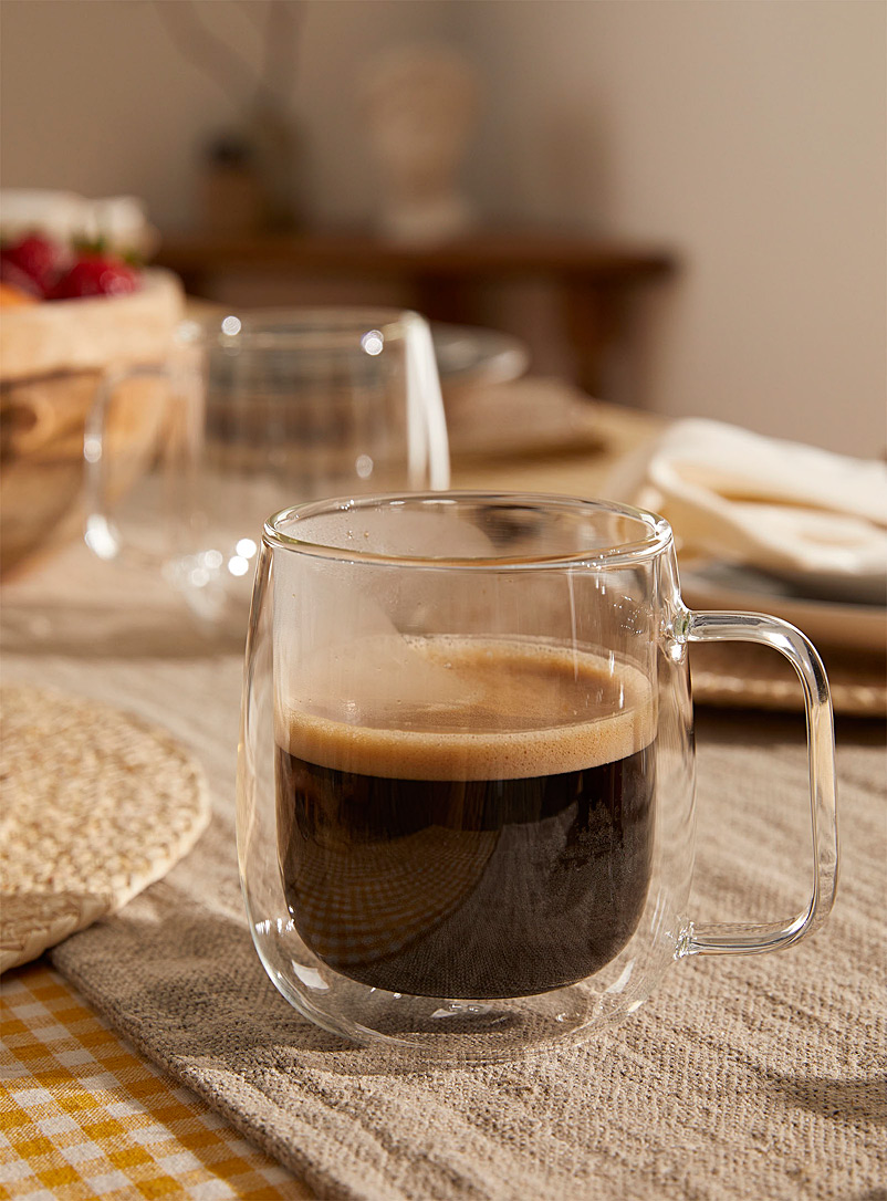 Double wall glass mugs  Set of 2