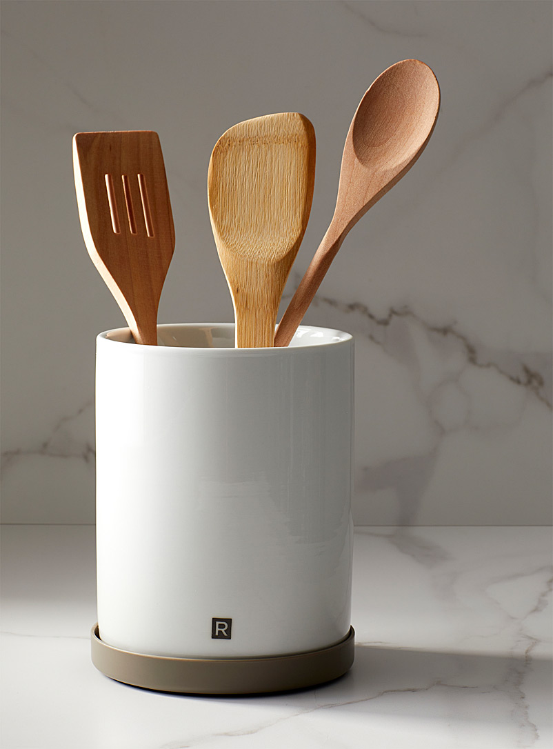 Ricardo White Rotating utensil holder