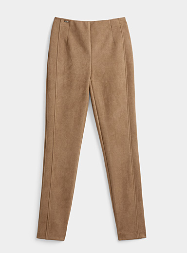 Lisette L Light Brown Faux-suede legging for women