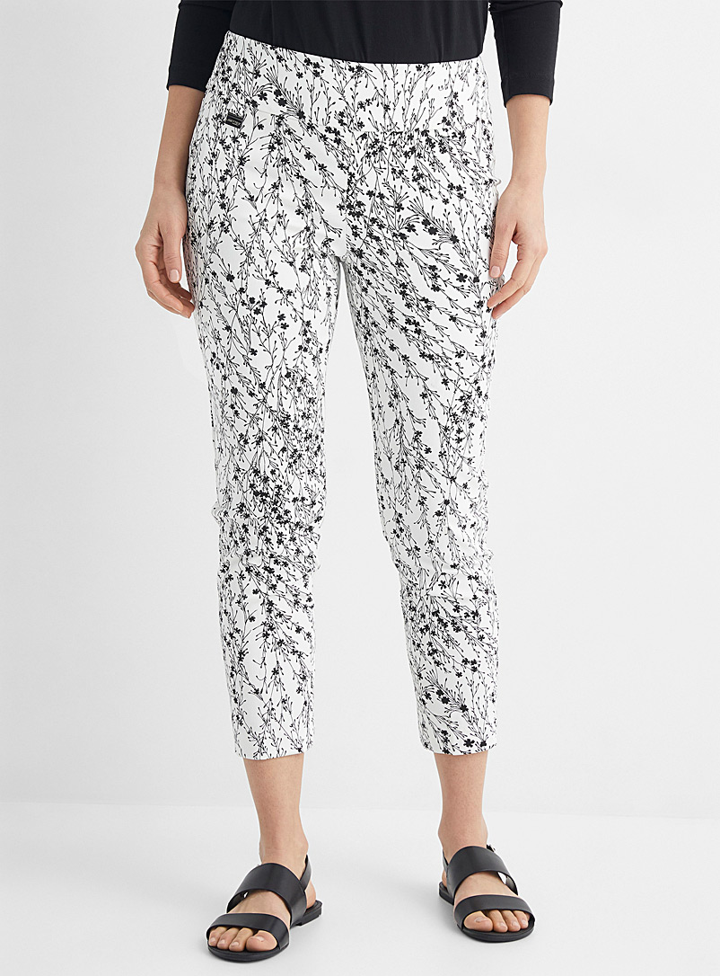 Lisette L Black and White Contrast floral slimming pant for women