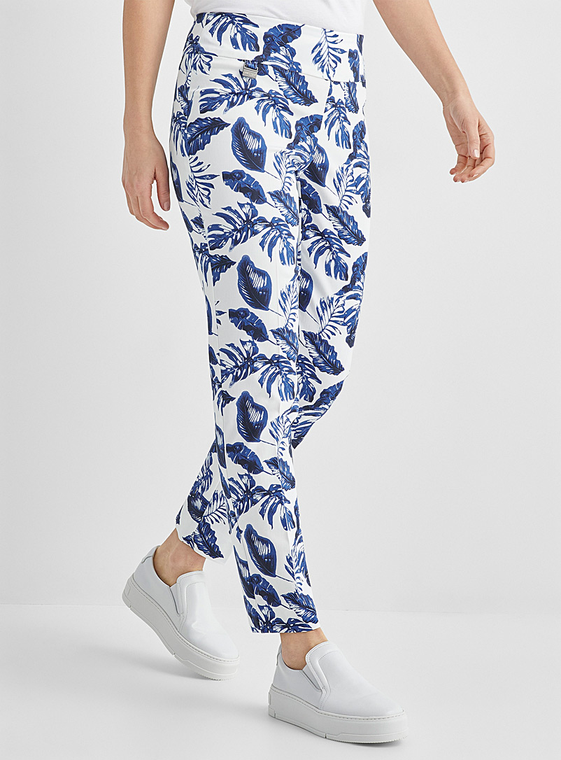 Lisette L Patterned Blue Tropical sky slimming pant for women