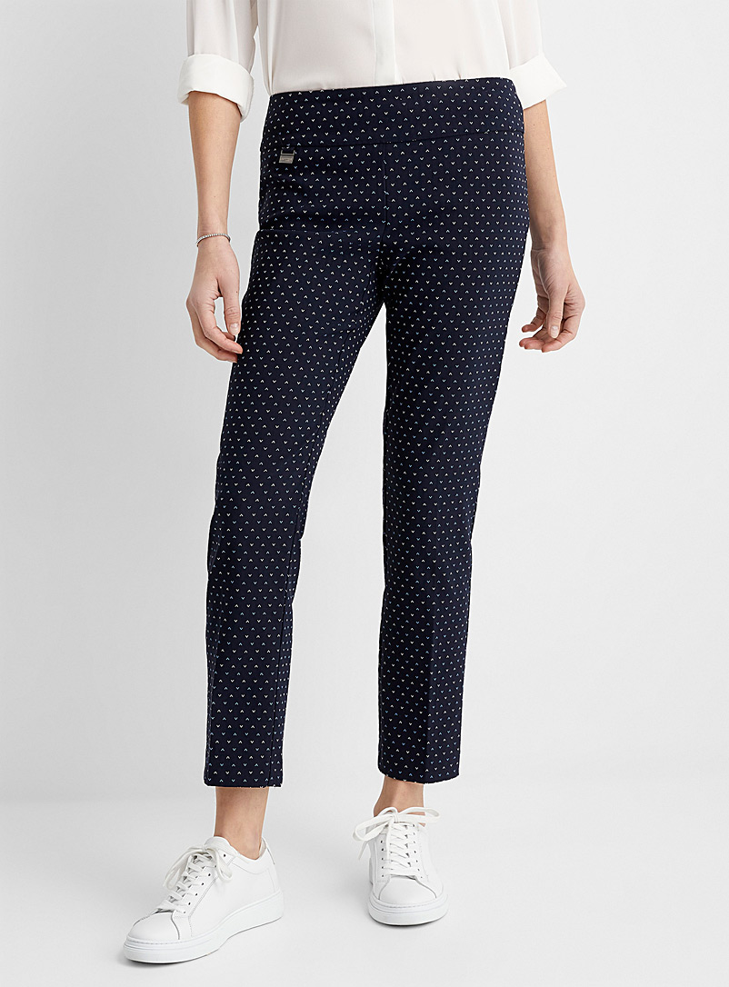 Lisette L Patterned Blue Delicate chevron slimming pant for women