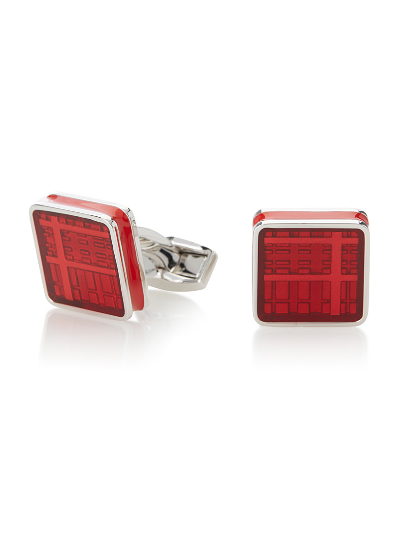 Tateossian Red Red tartan cufflinks for men