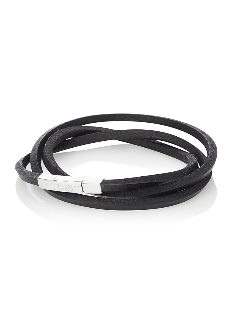 Tateossian Black Triple wrap Fettuccine leather bracelet for men
