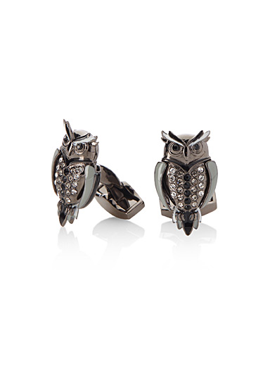 Mechanical owl cufflinks