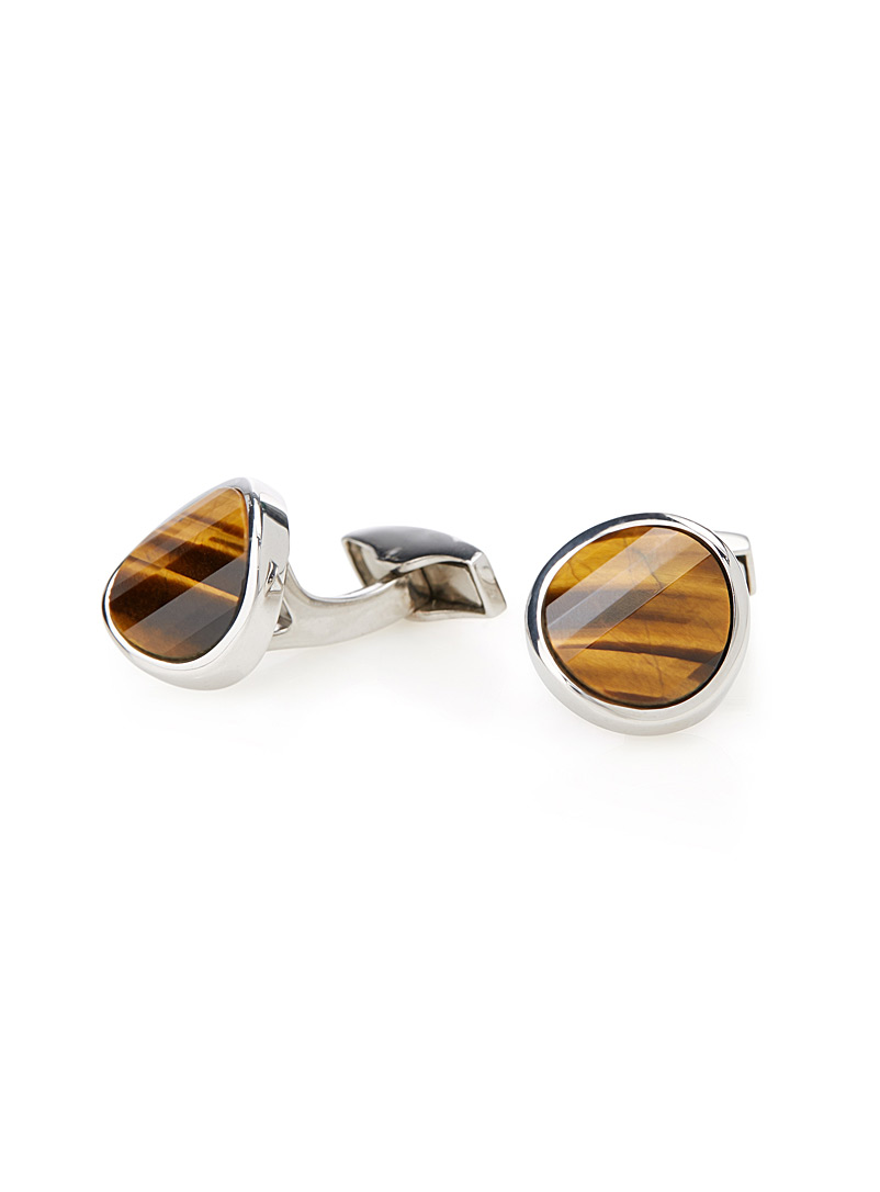 Revamped tiger eye cufflinks - Tateossian - Brown