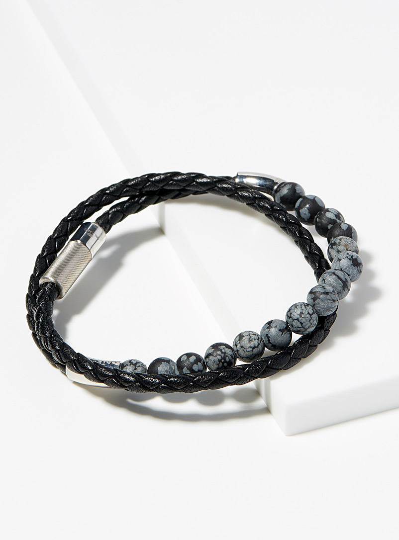 Tateossian Black Leather and obsidian bead bracelet for men