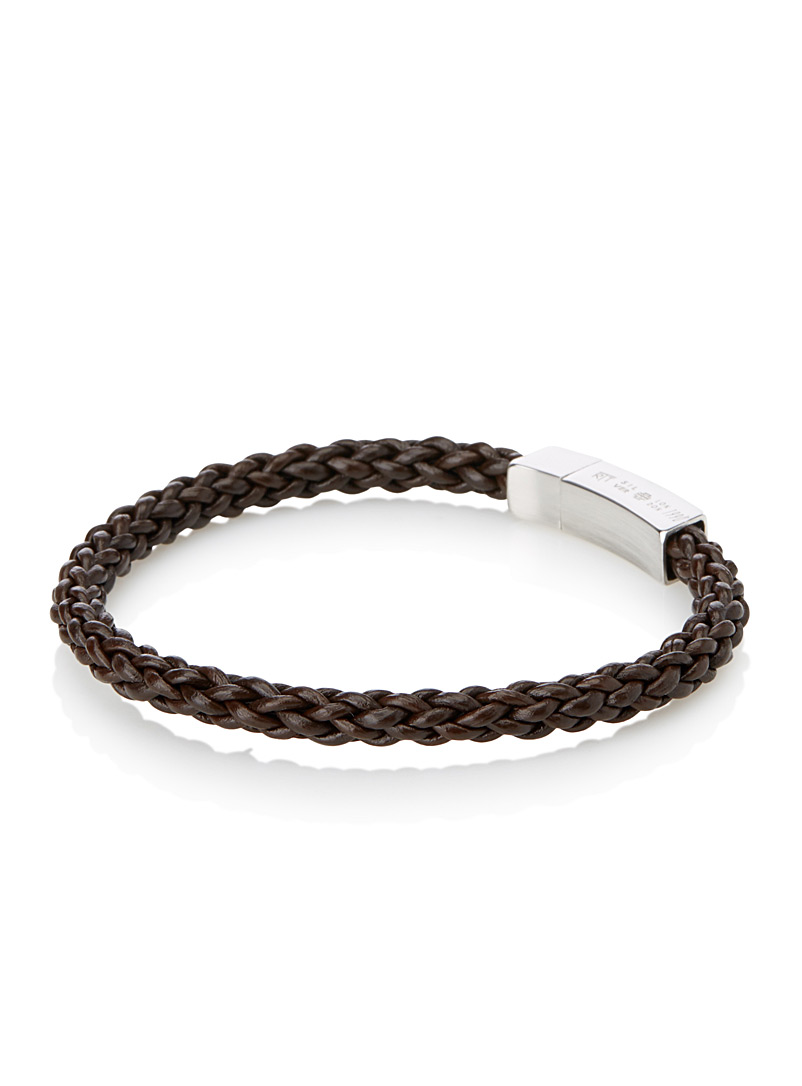 Tateossian Brown Fine braid bracelet for men