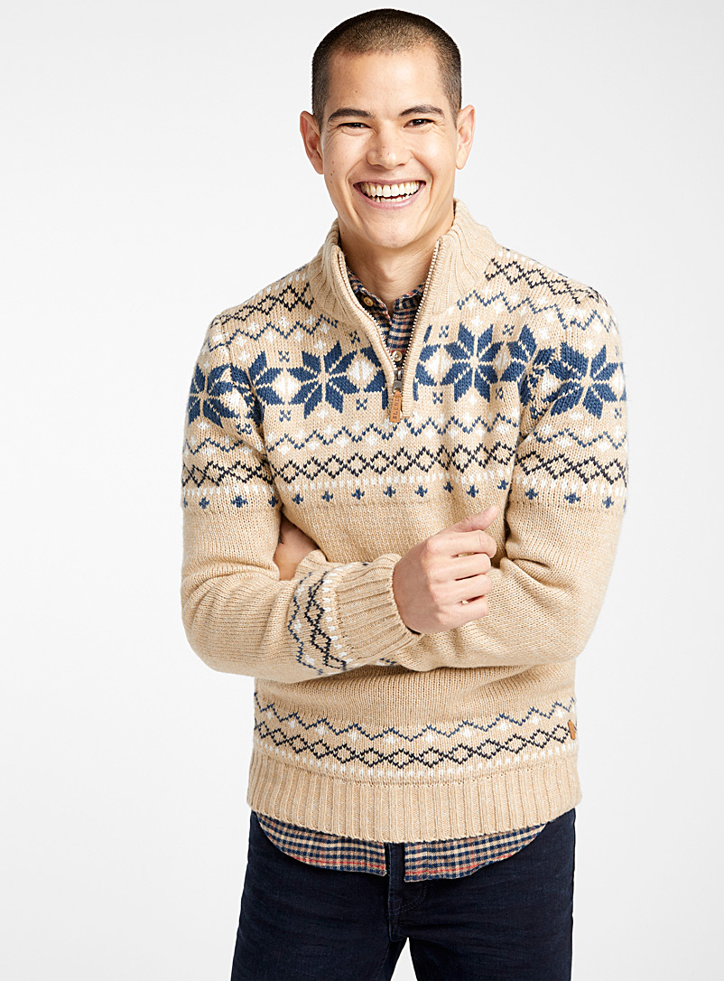 Snowflake jacquard half-zip - Turtlenecks & Mock necks