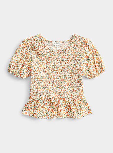 Orange flower smocked blouse