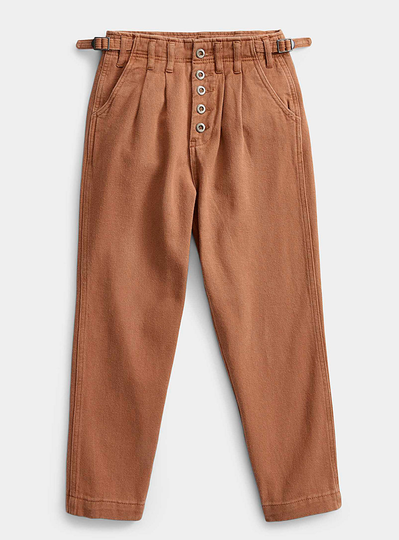 Twik Brown Accent-button loose pant for women