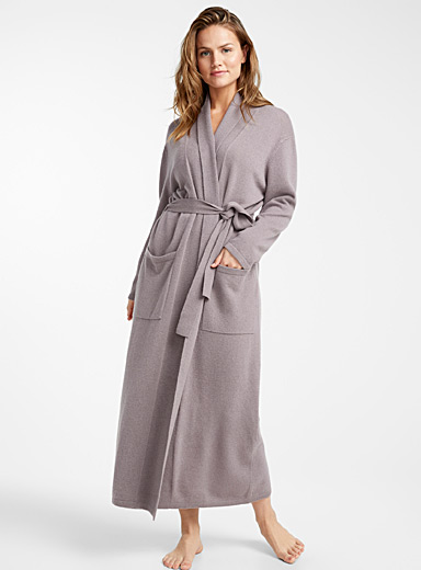 Long romantic pure cashmere robe