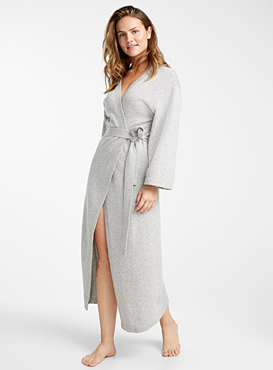 Long light grey pure cashmere robe