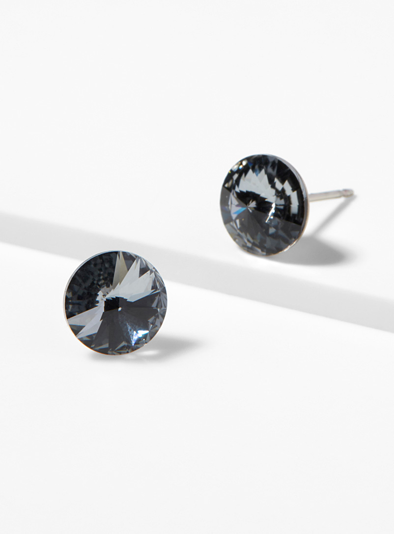 Simons Charcoal Swarovski crystal earrings for women