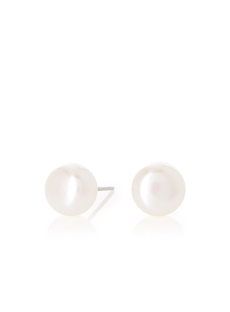 Simons Ivory White Freshwater pearl earrings for women