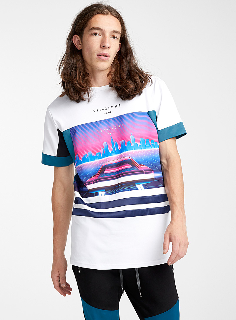 Futuristic mixed media T-shirt - Short sleeves & 3/4 sleeves - White