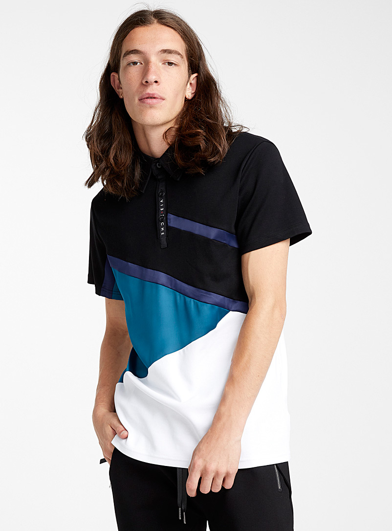 Mixed media polo - Short sleeves & 3/4 sleeves - Black