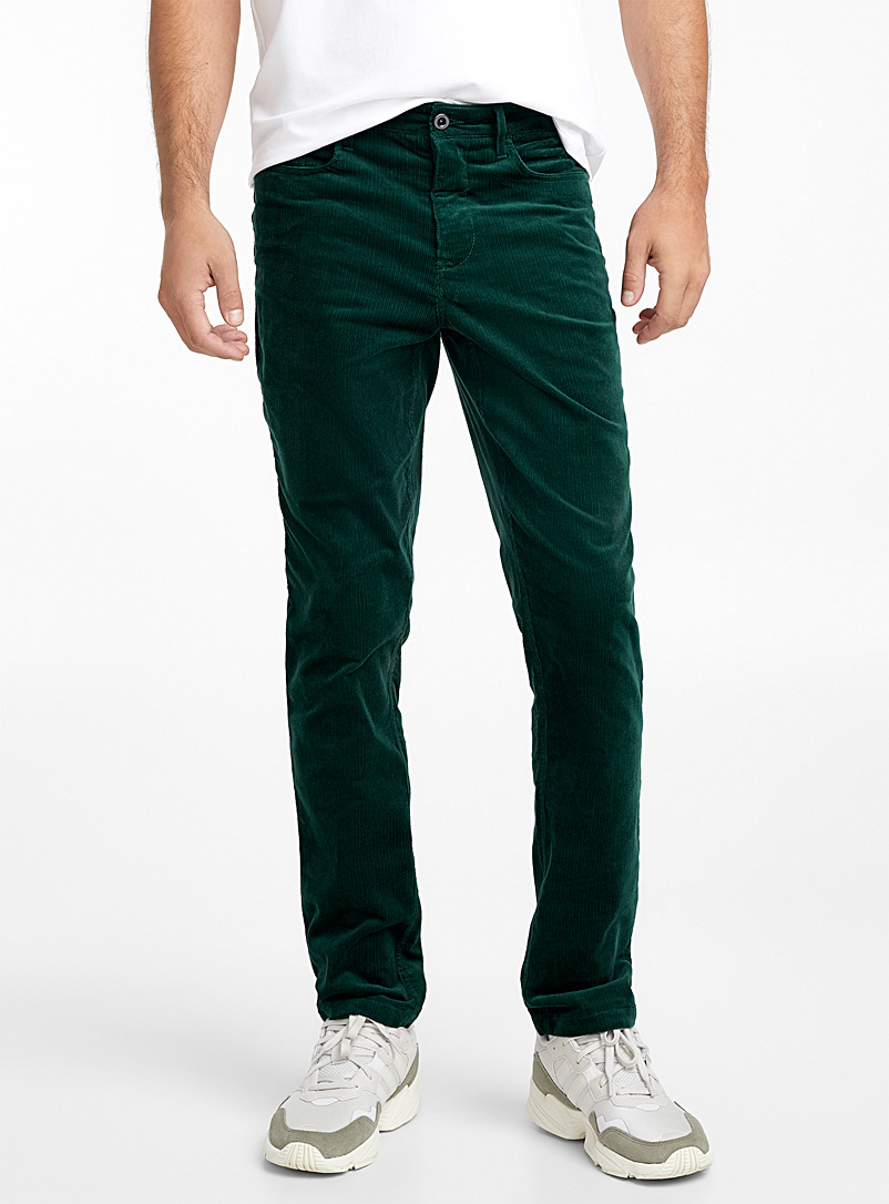 5-pocket corduroy organic cotton pant  Stockholm fit - Slim - Slim fit - Green