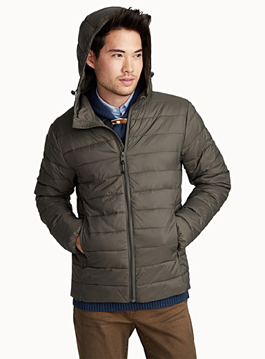 Satiny packable quilted jacket