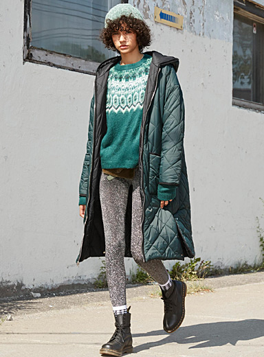 Long diamond-quilted coat