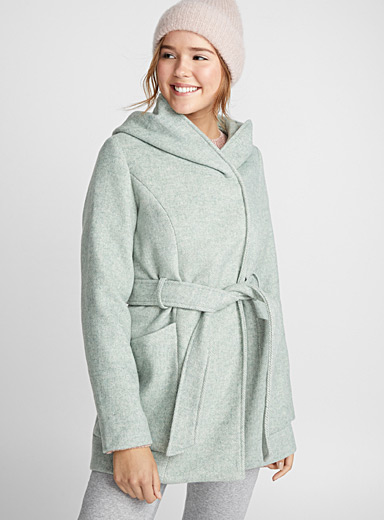 Soft wool crossover coat