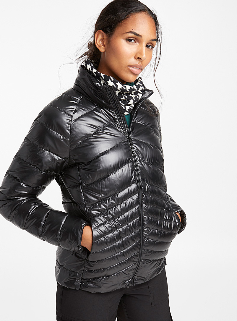 Shiny herringbone puffer jacket - Outdoor - Black