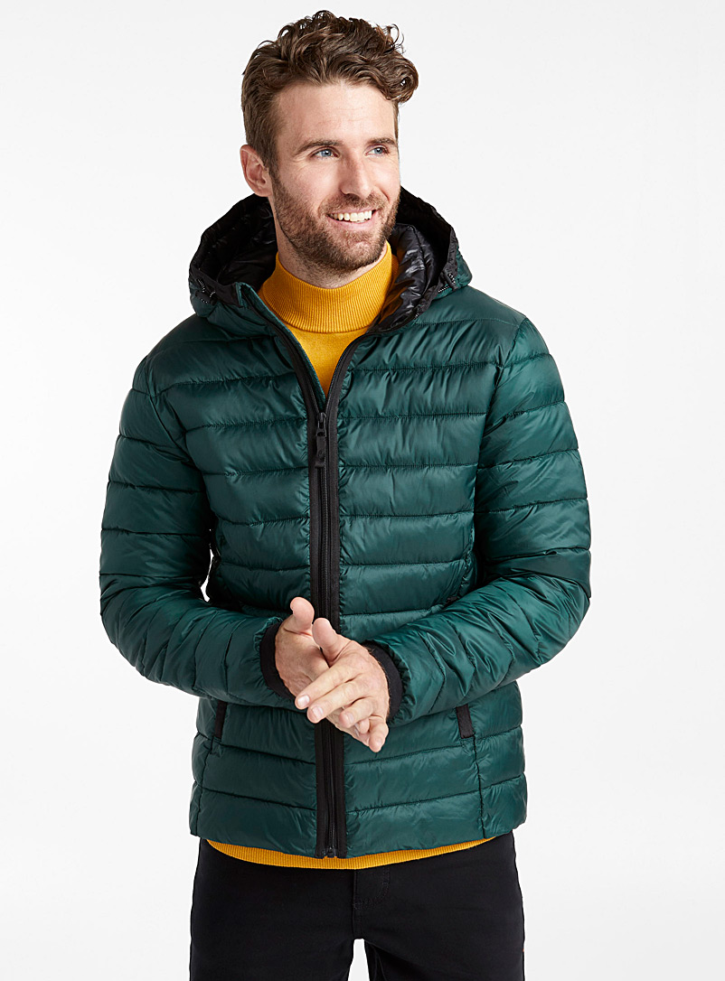 Recycled polyester packable hooded puffer jacket - Jackets & Vests - Bottle Green