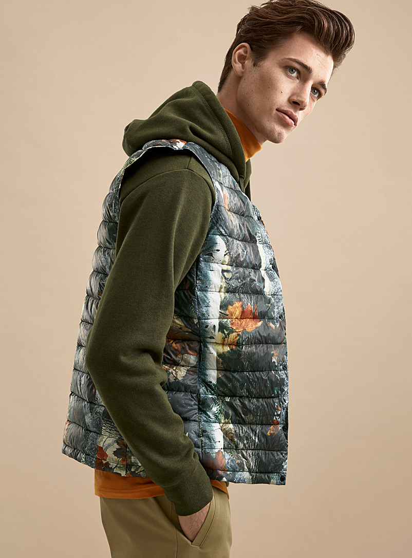 Recycled polyester puffer vest - Jackets & Vests - Patterned Brown