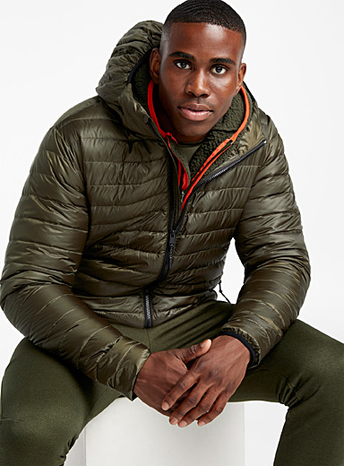 Solid recycled polyester puffer jacket