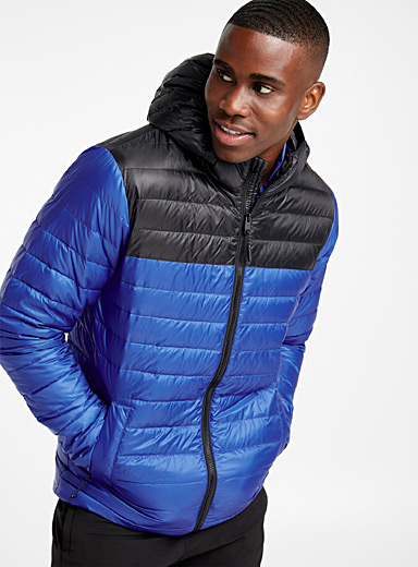 Two-tone recycled polyester puffer jacket