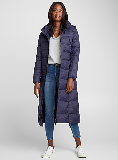 Lightweight long down puffer jacket