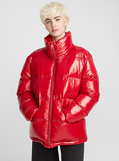 Lacquered quilted jacket