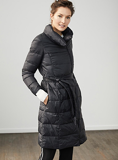 Belted lightweight down puffer jacket