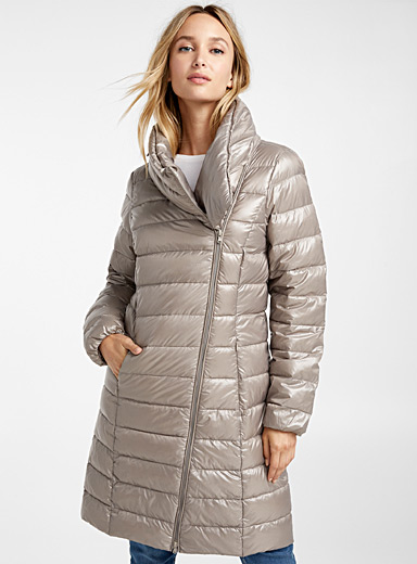 Recycled polyester off-centre zip puffer jacket