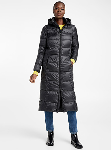 Long recycled polyester puffer jacket