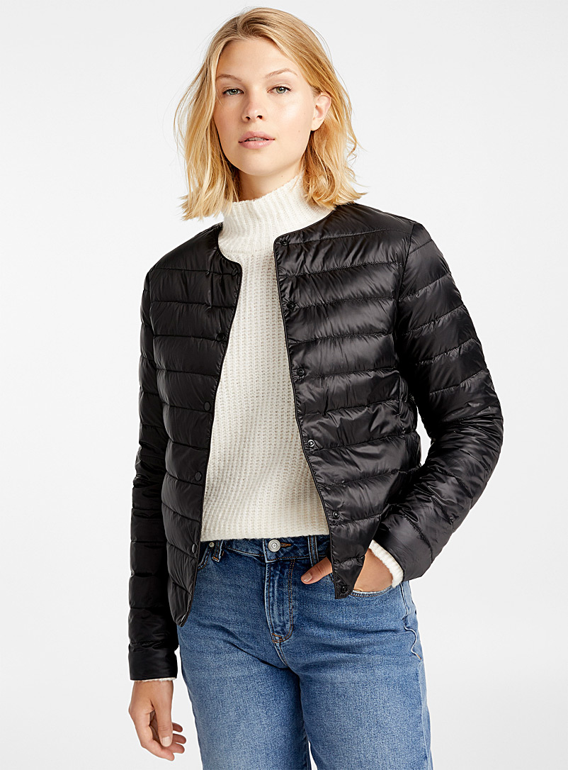 Recycled polyester cropped crew-neck puffer jacket - Quilted and Down Jackets - Black