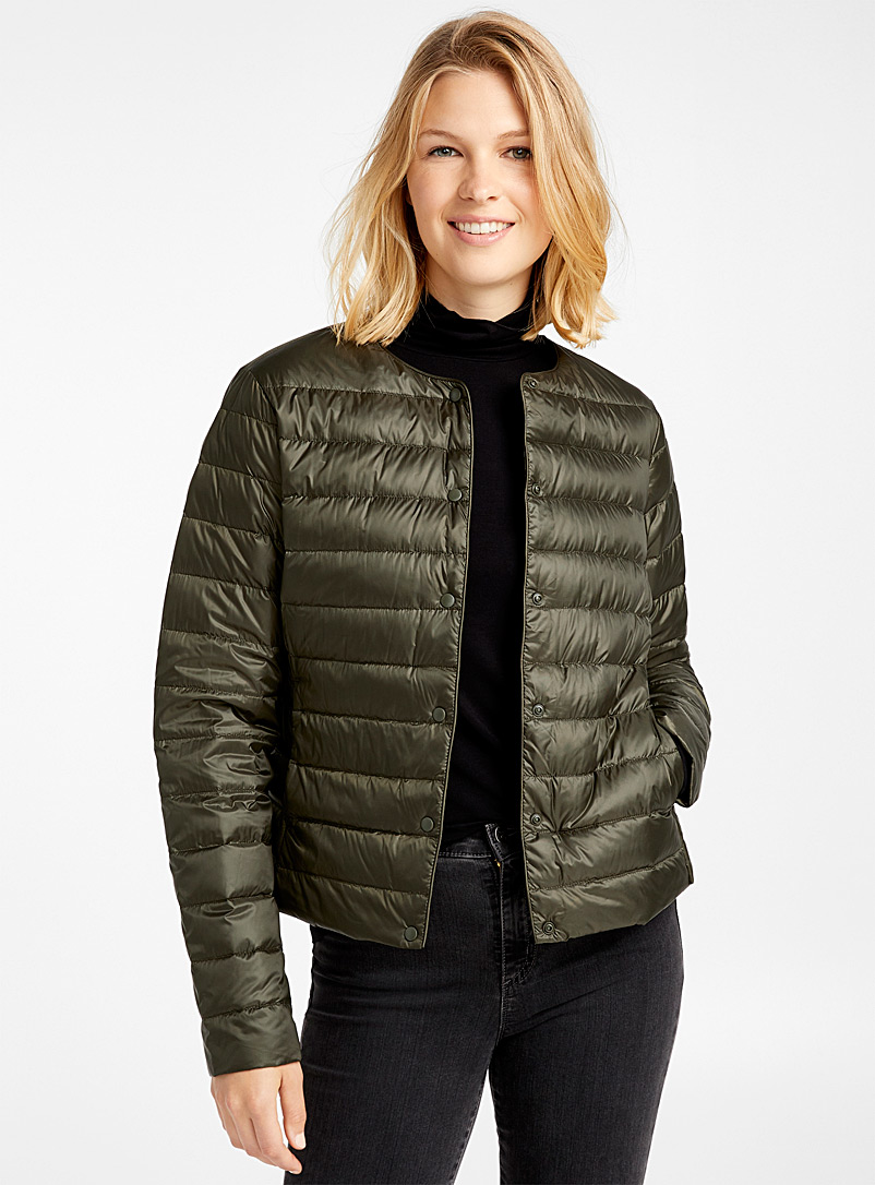 Recycled polyester cropped crew-neck puffer jacket - Quilted and Down Jackets - Mossy Green