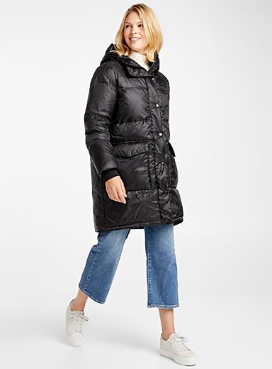 Recycled polyester flap pocket puffer jacket